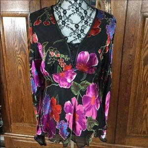 Vintage Cache Black & Pink Floral Silk Blouse